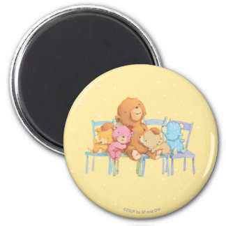 Five Cuddly and Colorful Bears On Chairs Magnet