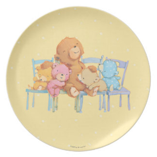 Five Cuddly and Colorful Bears On Chairs Party Plates