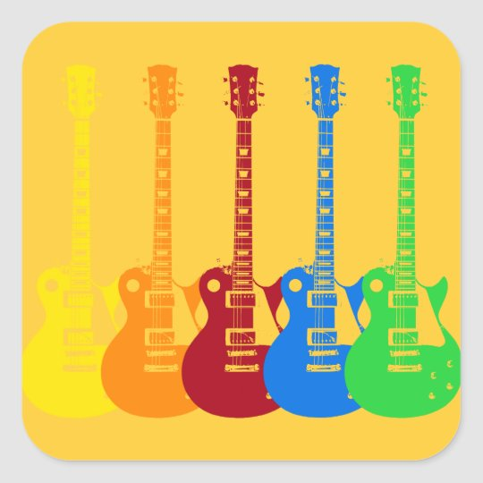 Five Electric Guitars Square Sticker