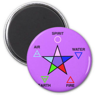Five Elements and Pentagram 6 Cm Round Magnet