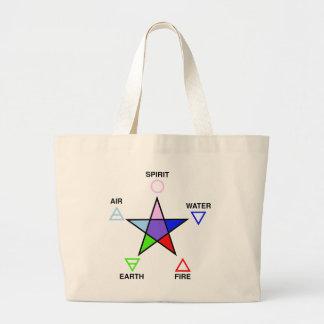 Five Elements and Pentagram Jumbo Tote Bag