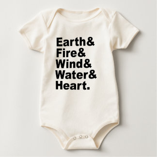 Five Elements | Earth Fire Wind Water & Heart Baby Bodysuit