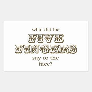 Five Fingers Rectangular Sticker