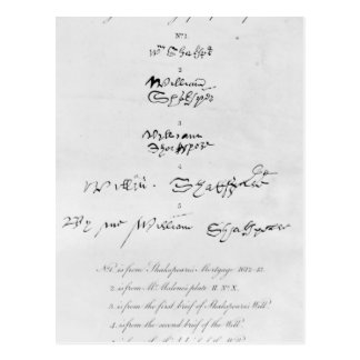 Five Genuine Autographs of William Shakespeare Postcard
