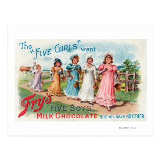 Five Girls Want Fry's Five Boys Milk Chocolate Post Card