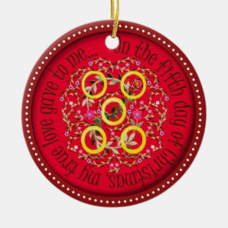 Five Gold rings Christmas Ornament