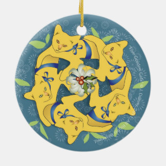 Five Golden Cats... double sided Christmas Ornament