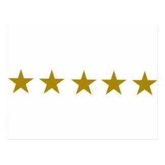 Five Golden Stars Postcards