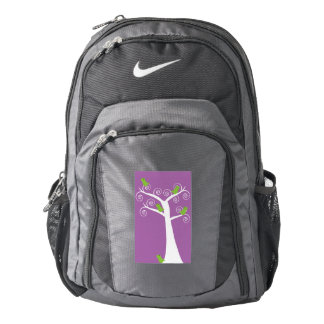 Five Green Birds in a Tree Purple Backpack