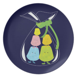 Five gumdrop characters in a bag dinner plate