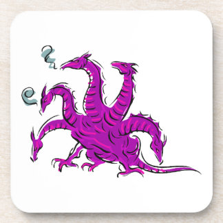 Five headed purple dragon png coasters