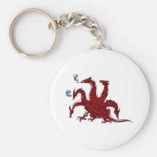 Five headed red dragon basic round button key ring