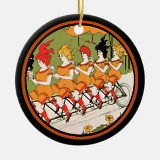 Five Ladies on  a Unicycle Christmas Ornament