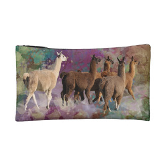 Five Llama Cloud Walk Fantasy White Brown LLamas Cosmetic Bags