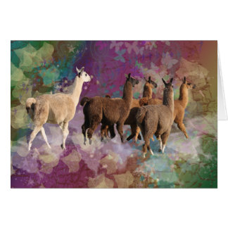 Five Llama Cloud Walk Fantasy White & Brown LLamas Greeting Card