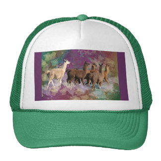 Five Llama Cloud Walk Fantasy White & Brown LLamas Trucker Hats