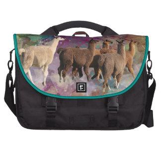 Five Llama Cloud Walk Fantasy White Brown LLamas Laptop Bag