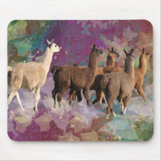 Five Llama Cloud Walk Fantasy White & Brown LLamas Mouse Mat