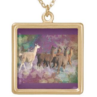 Five Llama Cloud Walk Fantasy White Brown LLamas Personalized Necklace