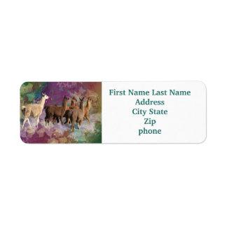 Five Llama Cloud Walk Fantasy White & Brown LLamas Return Address Label
