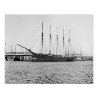Five Masted Schooner, late 1800s Poster
