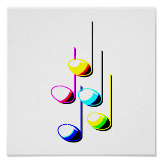 Five Music Notes in colours Musician Graphic Poster
