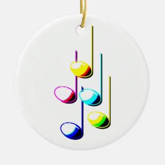 Five Music Notes in colours Musician Graphic Round Ceramic Decoration