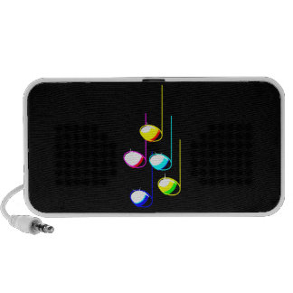 Five Music Notes in colours Musician Graphic iPod Speakers