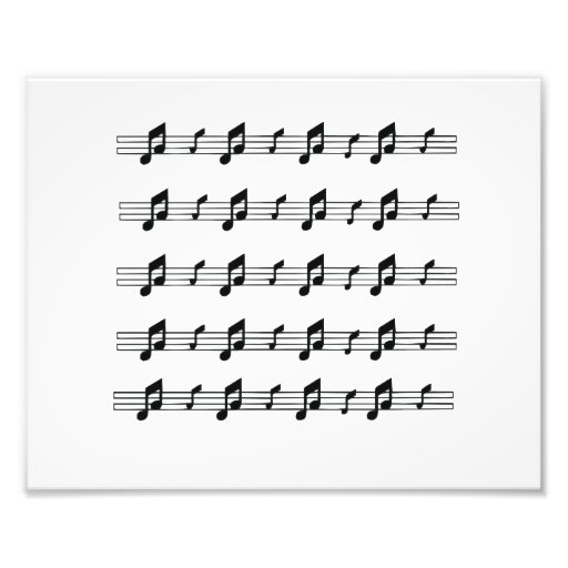 Five music staves with notes bw photo art