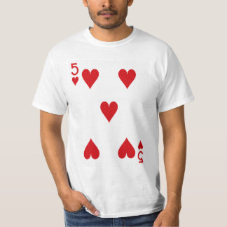 Five of Hearts Playing Card T-Shirt