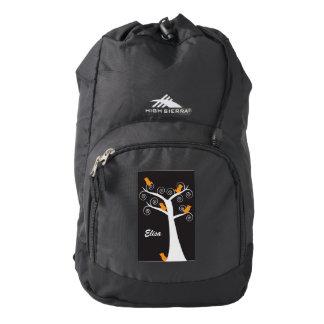 Five Orange Birds in a Tree Black Personalize Backpack