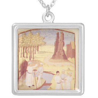 Five people discussing garden design silver plated necklace