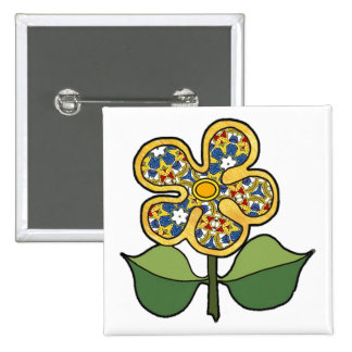 Five petal flower with solid outlinepattern petals 15 cm square badge