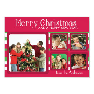 Five photo frame red green custom Christmas cards 13 Cm X 18 Cm Invitation Card