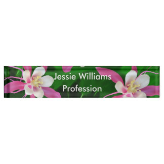Five Pink Columbine flowers Desk Name Plate