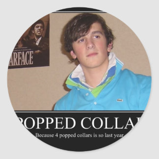 Five Popped Collars Cool Round Sticker