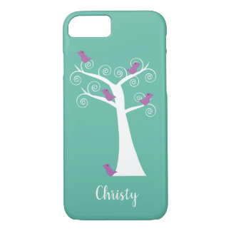 Five Purple Birds White Tree Turquoise Personalize iPhone 8/7 Case