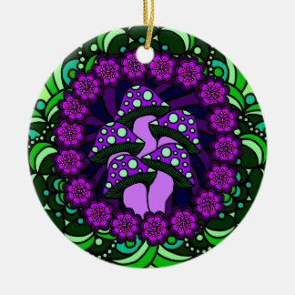 Five Purple Mushrooms Ornament