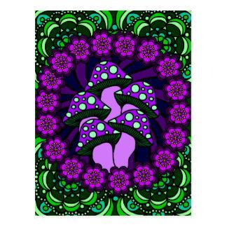 Five Purple Mushrooms Postcard