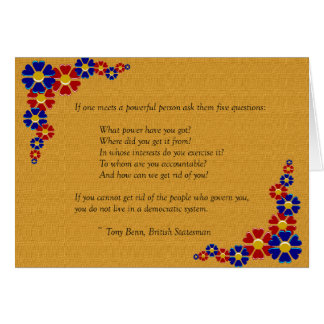Five Questions to Ask a Powerful Person Greeting Card