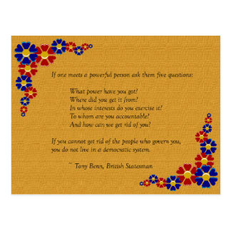 Five Questions to Ask a Powerful Person Postcard
