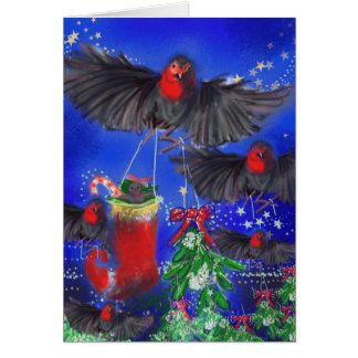 Five Robins with Mistletoe and Xmas stocking Card
