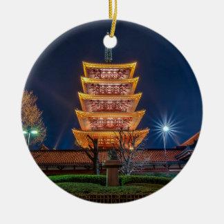 Five-Roof Pagoda at the Asakusa Temple, Tokyo Round Ceramic Decoration