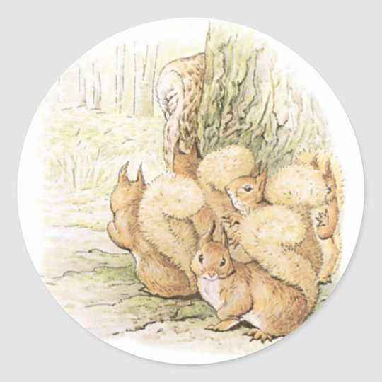 Five Squirrels Round Sticker