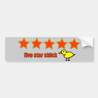 Five Star Chick Bumper Sticker