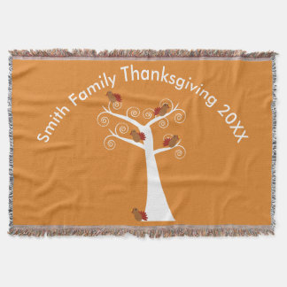 Five Thanksgiving Turkeys in a Tree Personalize Throw Blanket