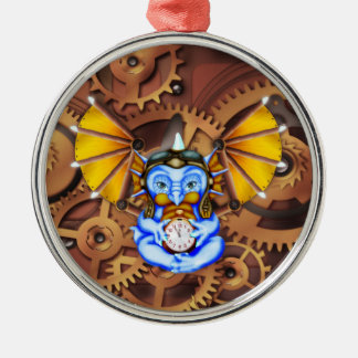 """Five to Twelve"" steampunk dragon ornament"