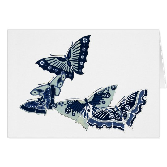 Five Vintage Blue Butterflies Card