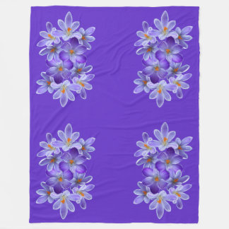 Five violet crocuses 05.0.4.4, spring greetings fleece blanket