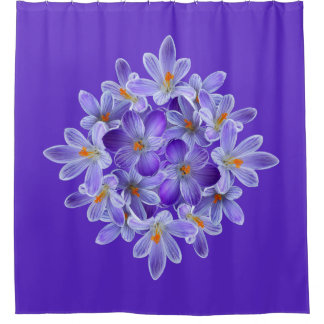 Five violet crocuses 05.10.1, spring greetings shower curtain